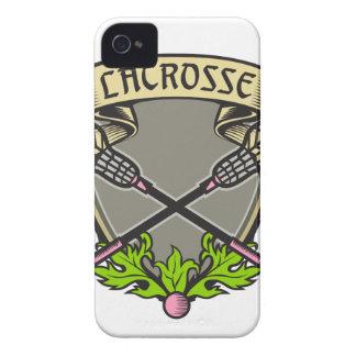 Gekreuztes Lacrosse-Stock-Wappen iPhone 4 Hüllen