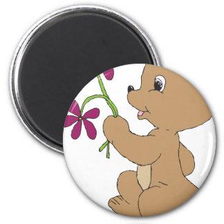 Gekritzel-Bärn-Blumen Runder Magnet 5,1 Cm