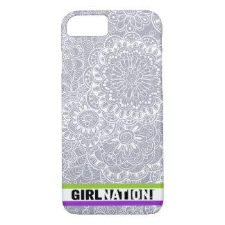 Gekritzel-Blumen iPhone 6/6s Fall im Grau iPhone 8/7 Hülle
