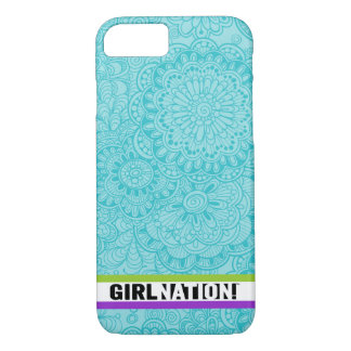 Gekritzel-Blumen iPhone 7 Fall in aquamarinem iPhone 8/7 Hülle