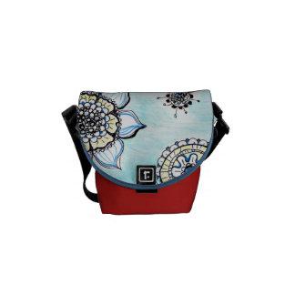 Gekritzel-Blumen Minibote-Tasche Kurier Taschen