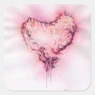 Gekritzel-Herz - quadratischer Aufkleber