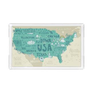 Gekritzel-Karte von USA Acryl Tablett