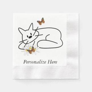 Gekritzel-Katzen Serviette