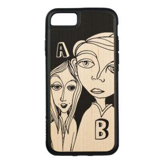 Gekritzel-Paare u. zwei personalisierte Buchstaben Carved iPhone 8/7 Hülle