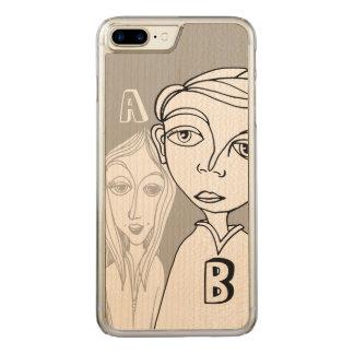 Gekritzel-Paare u. zwei personalisierte Buchstaben Carved iPhone 8 Plus/7 Plus Hülle