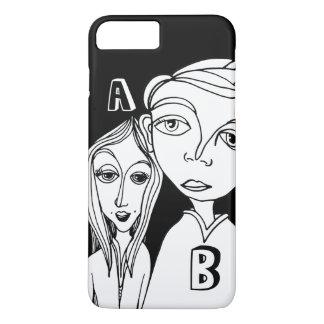 Gekritzel-Paare u. zwei personalisierte Buchstaben iPhone 8 Plus/7 Plus Hülle
