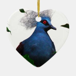Gekrönte Taube Keramik Herz-Ornament