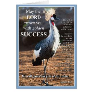 Gekrönter Kran-Erfolg Grußkarte