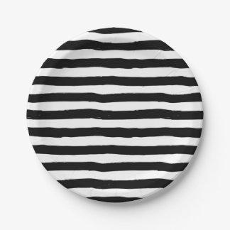 Gekrümmtes Streifen-Schwarzweiss-Muster Pappteller