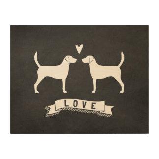 Geländeläufer-HundeSilhouette-Liebe Holzdruck