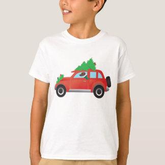 Geländeläufer oder Beagle, die Auto mit Baum auf T-Shirt