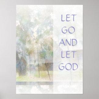 Gelassen gehen Sie Gott-Scheunen-PlatteWatercolor Poster