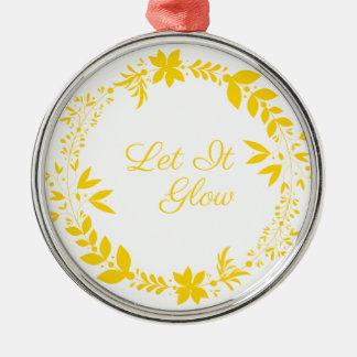 Gelassen ihm glühen rundes silberfarbenes ornament