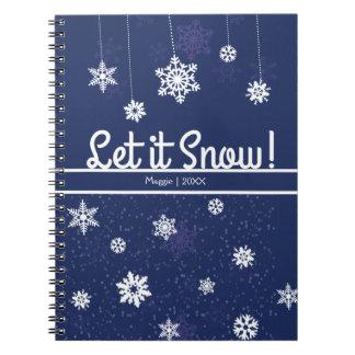 Gelassen ihm schneien, blaue Schneeflocke Spiral Notizblock