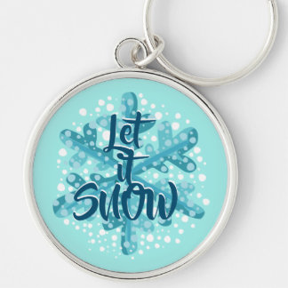 Gelassen ihm schneien blaues Schneeflocke-Geschenk Schlüsselanhänger