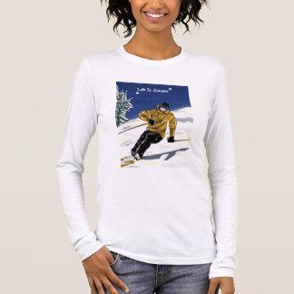 Gelassen ihm schneien das lang-sleeved angepasste langarm T-Shirt