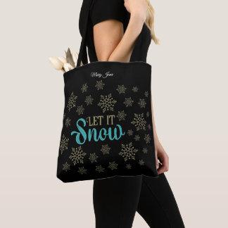 Gelassen ihm schneien Flocken Tasche