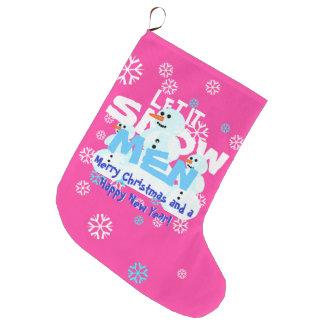 Gelassen ihm schneien Männersnowmen-klebriges Große Weihnachtsstrümpfe