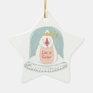 Gelassen ihm schneien niedliches Weihnachten Keramik Ornament