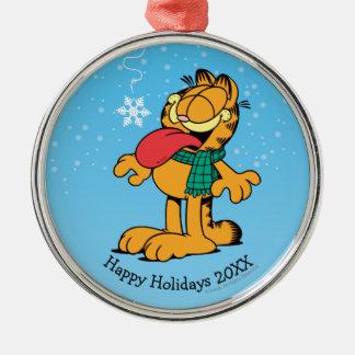 Gelassen ihm schneien! rundes silberfarbenes ornament