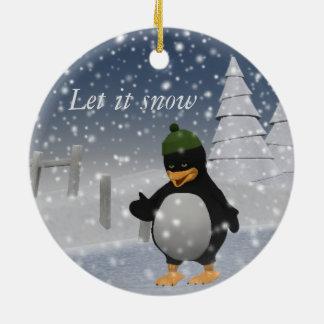 Gelassen ihm schneien Penguin Rundes Keramik Ornament