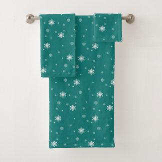 Gelassen ihm schneien, Schneeflocke-Muster auf Badhandtuch Set