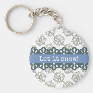 Gelassen ihm schneien Schneeflocke-Muster-Feiertag Schlüsselanhänger