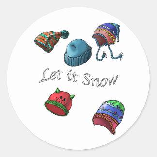 Gelassen ihm schneien; Weihnachtsaufkleber, Runder Aufkleber