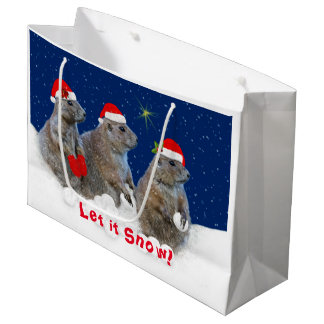 Gelassen ihm schneien Weihnachtsgeschenk-Tasche Große Geschenktüte