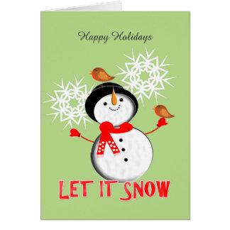 Gelassen ihm schneien Weihnachtsglückliche Grußkarte
