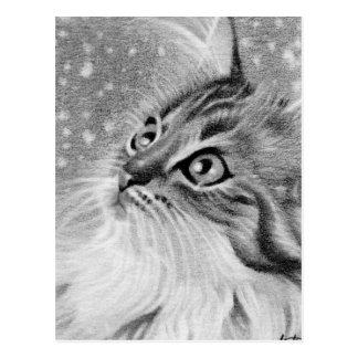 Gelassen Schnee Kitty-Katze Postkarte