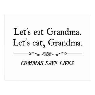 Gelassen uns essen Sie Großmutter, die Kommas die Postkarte