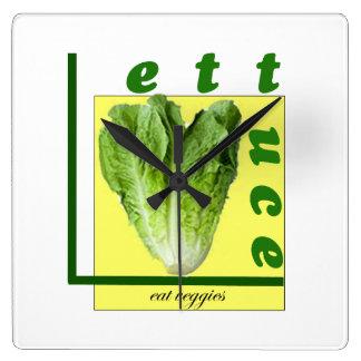 Gelassen uns essen Sie Veggies Quadratische Wanduhr
