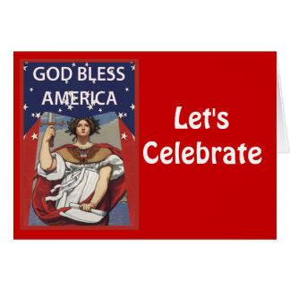 Gelassen uns feiern Sie, Gott segnen Amerika Karte