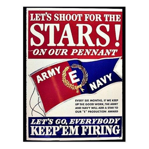 Gelassen uns für die Sterne auf unserem Wimpel Postkarte