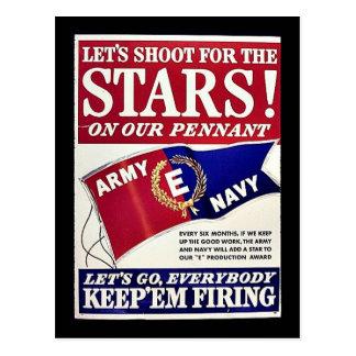Gelassen uns für die Sterne auf unserem Wimpel Postkarten