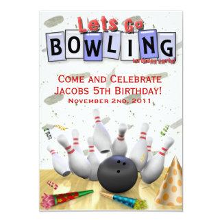 Gelassen uns gehen Bowlings-Geburtstags-Party 12,7 X 17,8 Cm Einladungskarte