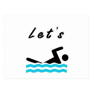 Gelassen uns gehen Sie zu schwimmen Postkarte