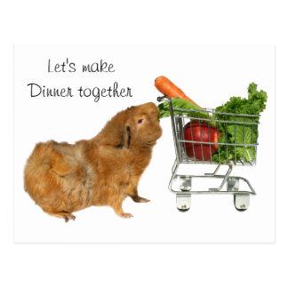 Gelassen uns machen Sie Abendessen zusammen Postkarte