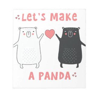 gelassen uns machen Sie einen Panda Notizblock