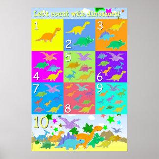 Gelassen uns, mit Dinosauriern nummeriert zu Poster