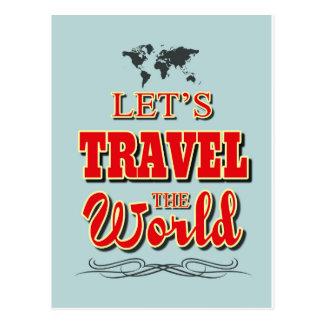Gelassen uns reisen die Welt Postkarte