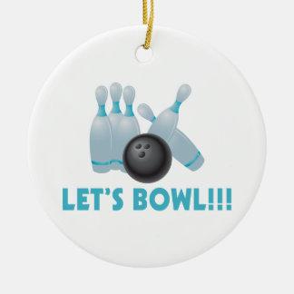 Gelassen uns rollen Bowlings-Ball u. Buttone Keramik Ornament
