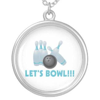 Gelassen uns rollen Bowlings-Ball u. Buttone Versilberte Kette