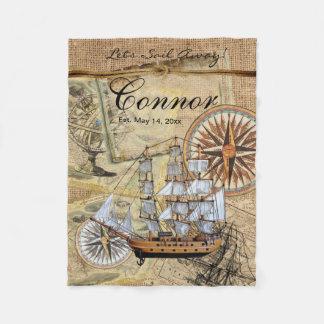 Gelassen uns weg Vintages Schiff segeln Fleecedecke