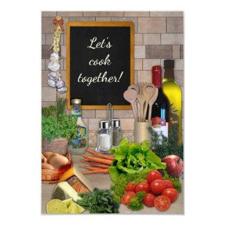 Gelassen uns zusammen kochen! 8,9 x 12,7 cm einladungskarte