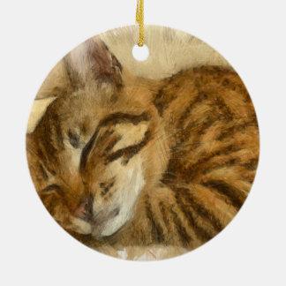 Gelassene Schlafenkatzen-Lüge Keramik Ornament