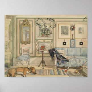 Gelassener Schlafenhundelügen-SchwedeWatercolor Poster