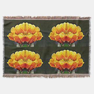 Gelb auf orange Kaktus-Blumethrow-Decke Decke